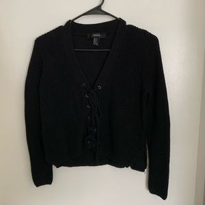 Cropped Lace Up Sweater